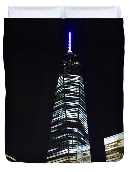 Freedom Tower And Blue Moon Duvet Cover