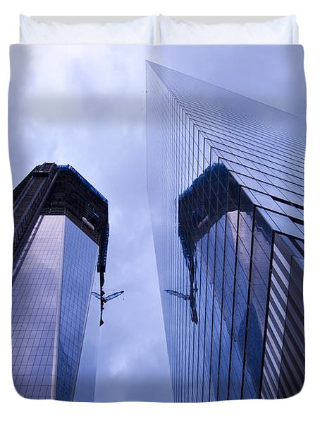 Freedom Tower Ground Zero New York City Duvet Cover by Sabine Jacobs