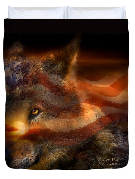 Freedom Wolf Duvet Cover by Carol Cavalaris
