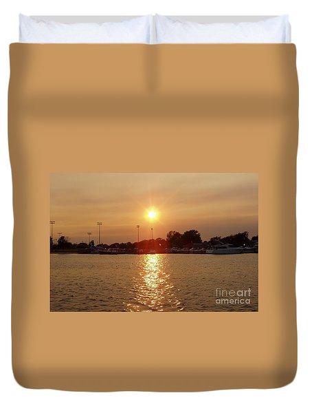 Freeport Summer Sunset Duvet Cover by John Telfer