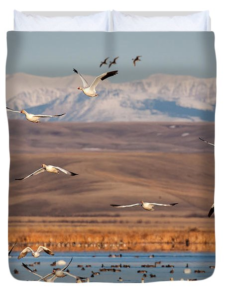Duvet Cover featuring the photograph Freeze Out Lake Morning by Jack Bell