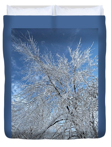 Duvet Cover featuring the photograph Freezing Rain ... by Juergen Weiss