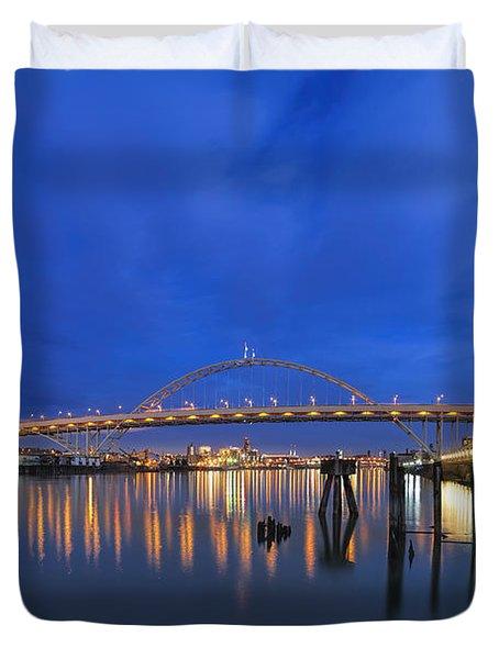 Fremont Bridge Blues Duvet Cover by David Gn