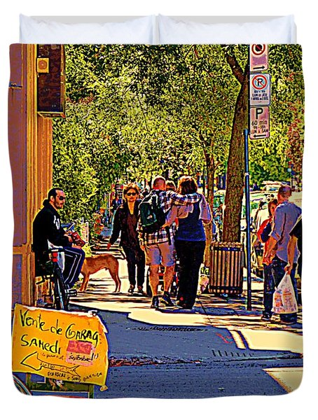 French Bread On Laurier Street Montreal Cafe Scene Sunny Corner With Vente De Garage Sign Duvet Cover by Carole Spandau