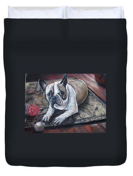 french Bull dog Duvet Cover by Peter Suhocke