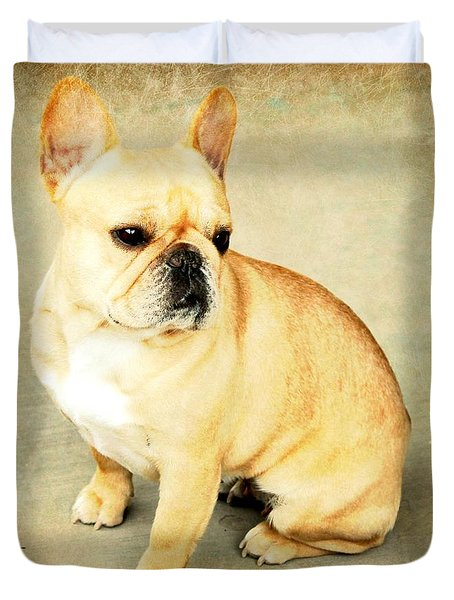 Duvet Cover featuring the photograph French Bulldog Antique by Barbara Chichester