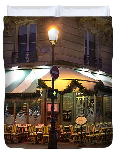 Duvet Cover featuring the photograph French Cafe by Art Block Collections