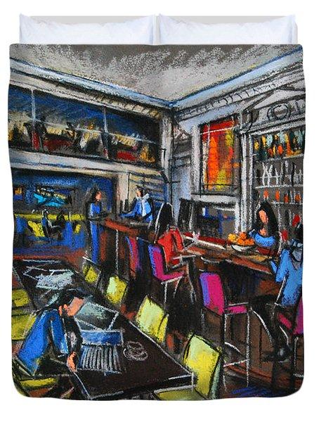French Cafe Interior Duvet Cover