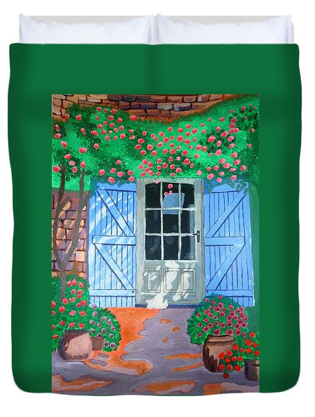 Duvet Cover featuring the painting French Farm Yard by Magdalena Frohnsdorff