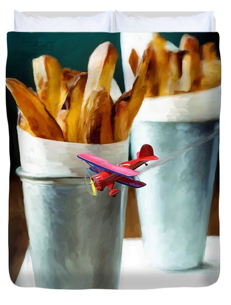 French Fries Fly-by Duvet Cover by Snake Jagger