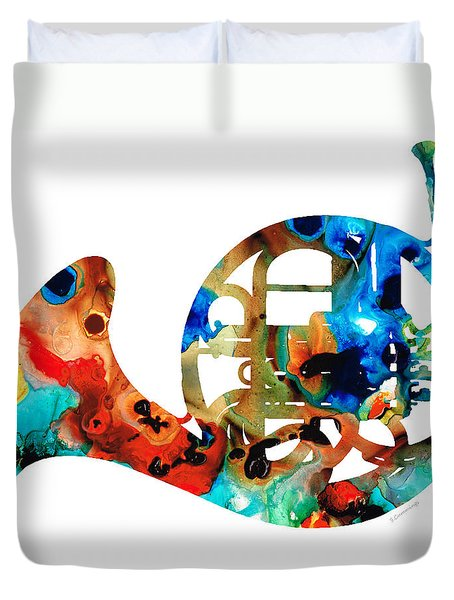 French Horn - Colorful Music By Sharon Cummings Duvet Cover