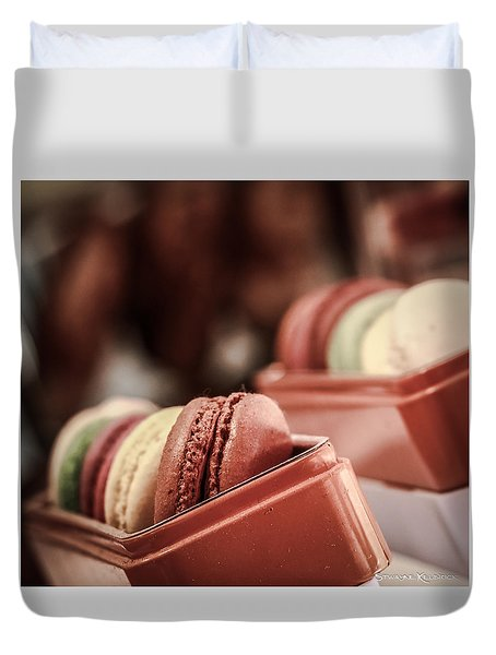 Duvet Cover featuring the photograph French Macaroons by Stwayne Keubrick