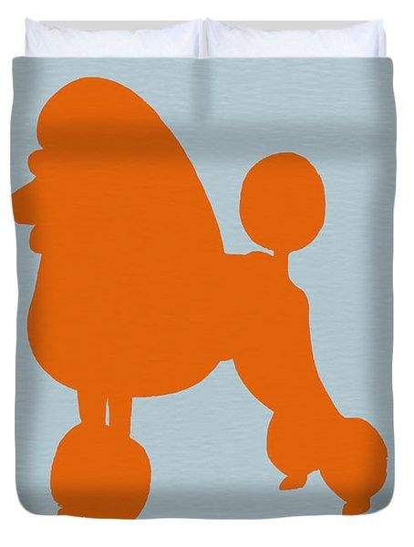 French Poodle Orange Duvet Cover