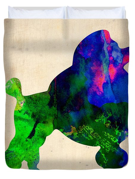 French Poodle Watercolor Duvet Cover