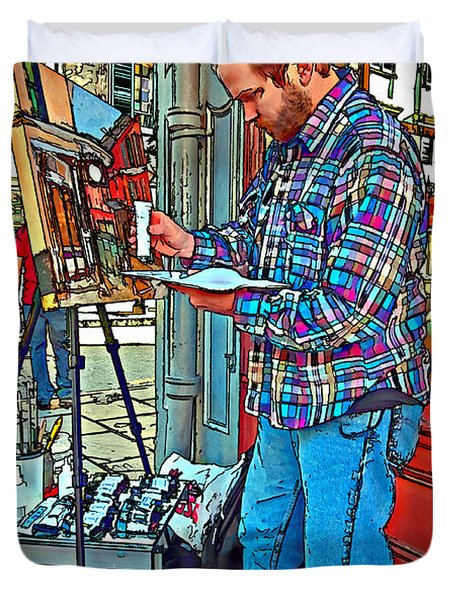 French Quarter Artist Painted Duvet Cover by Steve Harrington