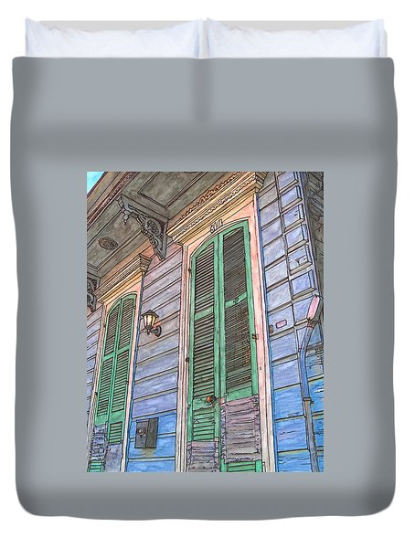 French Quarter Shutters 368 Duvet Cover by John Boles