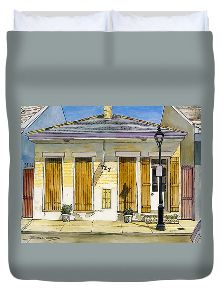 French Quarter Yellow Brick House 367 Duvet Cover by John Boles