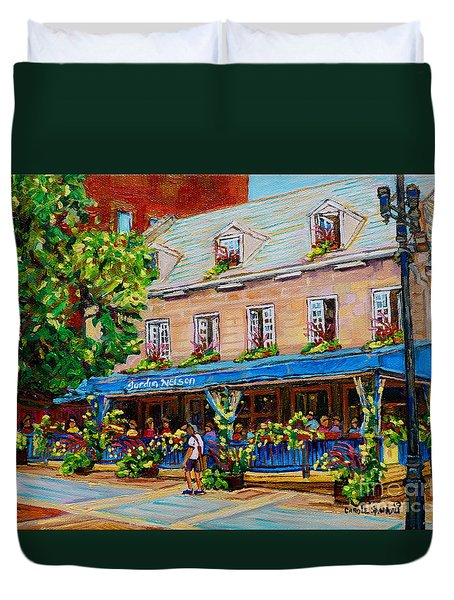 French Restaurant Jardin Nelson Paris Style Bistro Place Jacques Cartier Terrace Garden C Spandau   Duvet Cover