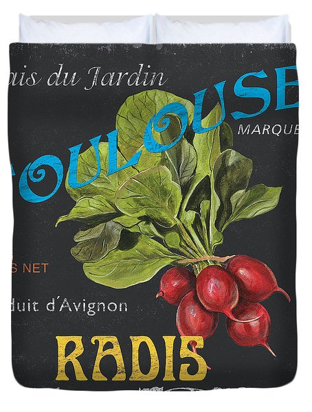 French Veggie Labels 3 Duvet Cover by Debbie DeWitt