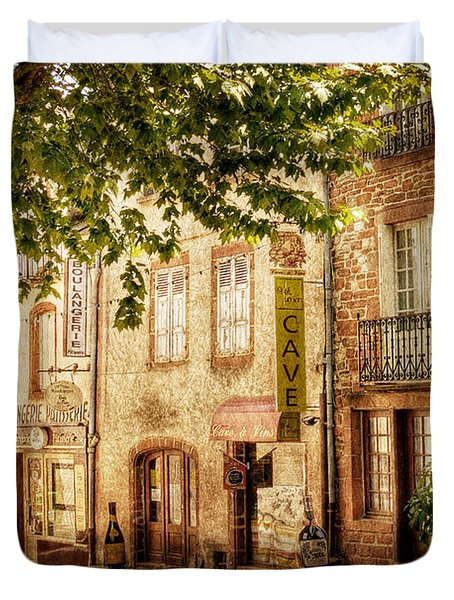 Duvet Cover featuring the photograph French Village Street / Meyssac by Barry O Carroll
