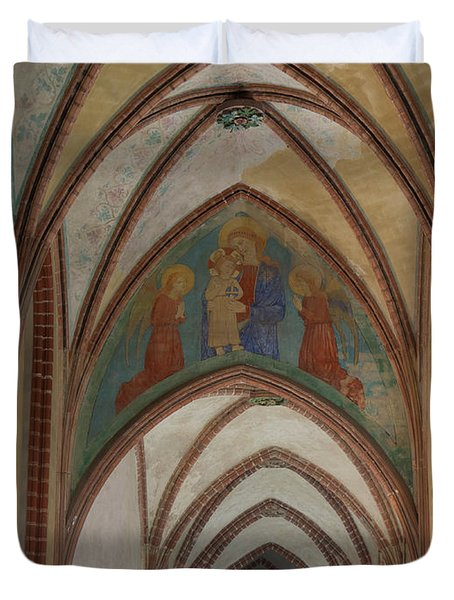 Fresco Painting Over Archway At Malbork Duvet Cover