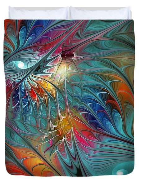 Fresh Mints And Cool Blues-abstract Fractal Art Duvet Cover