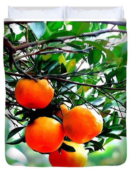 Fresh Orange On Plant Duvet Cover by Lanjee Chee