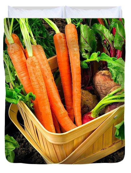 Fresh Picked Healthy Garden Vegetables Duvet Cover by Edward Fielding