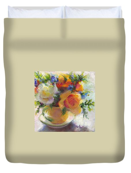 Duvet Cover featuring the painting Fresh - Roses In Teacup by Talya Johnson