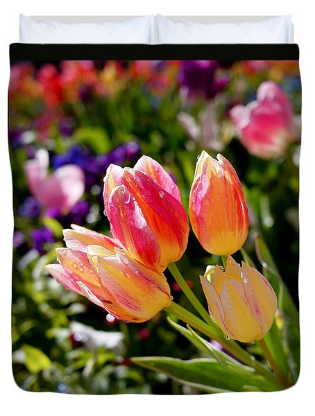 Fresh Tulips Duvet Cover by Rona Black
