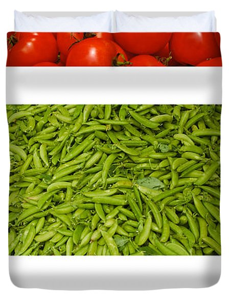 Fresh Vegetable Triptych Duvet Cover by Thomas Marchessault