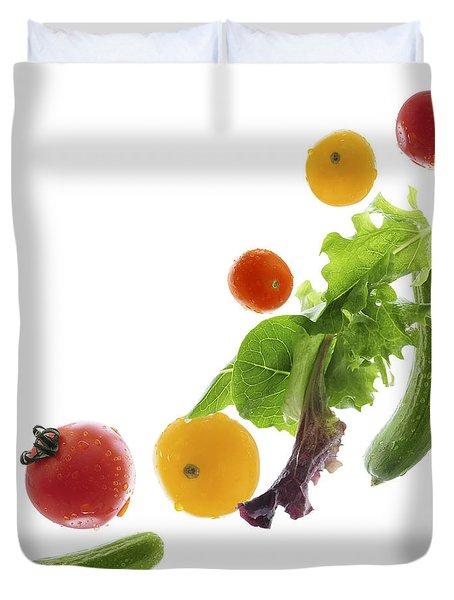 Fresh Vegetables Flying Duvet Cover by Elena Elisseeva