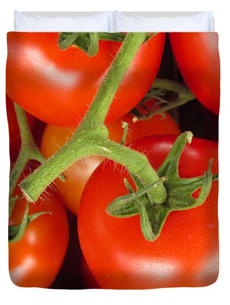 Duvet Cover featuring the photograph Fresh Whole Tomatos On Vine by David Millenheft