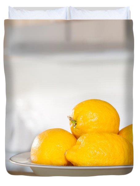 Freshly Picked Lemons Duvet Cover by Amanda Elwell