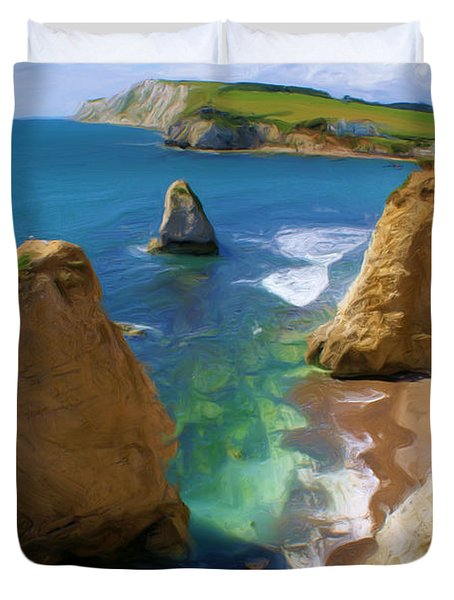 Duvet Cover featuring the digital art Freshwater Bay by Ron Harpham