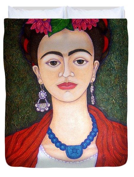 Frida Kahko Portrait With Dahlias Painting By Madalena