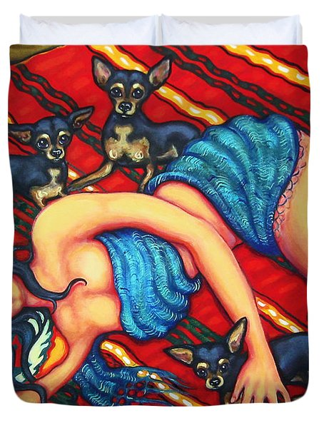 Frida Kahlo - Dreaming Of Diego Duvet Cover by Rebecca Korpita