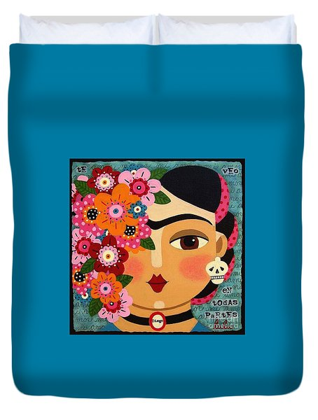 Duvet Cover Featuring The Painting Frida Kahlo With Flowers And Skull By LuLu Mypinkturtle