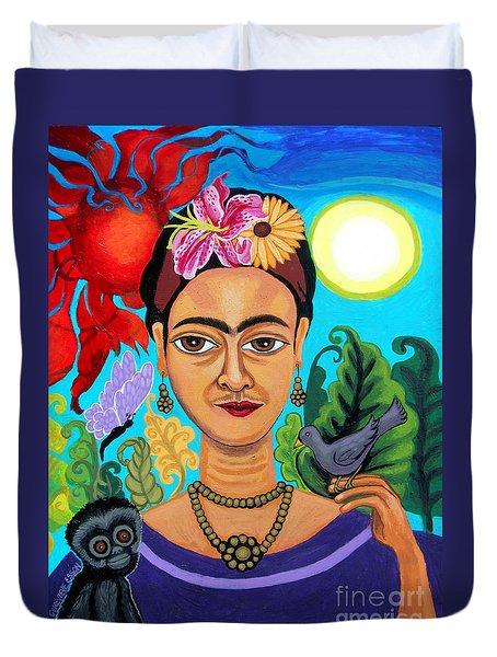 Frida Kahlo With Monkey And Bird Duvet Cover