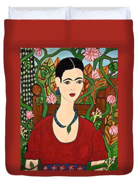 Frida With Vines Duvet Cover by Stephanie Moore