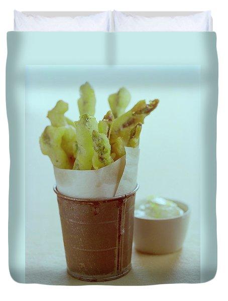 Fried Asparagus Duvet Cover