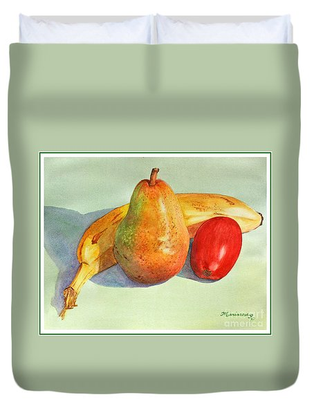 Duvet Cover featuring the painting Friendly Trio by Mariarosa Rockefeller