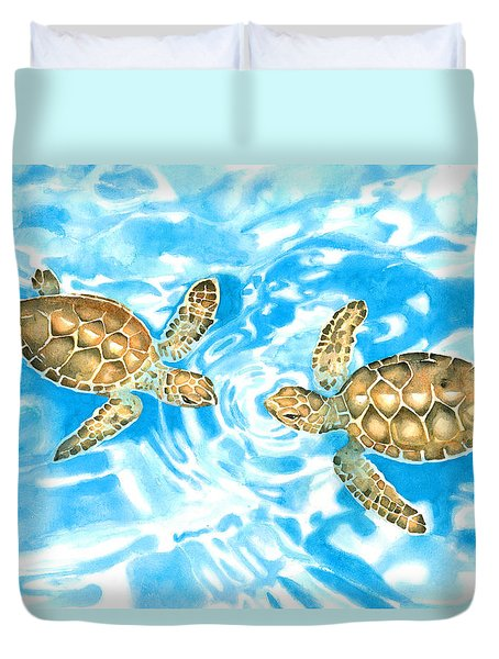 Friends Baby Sea Turtles Duvet Cover
