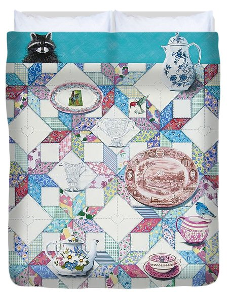 Duvet Cover featuring the painting Friends Come To Tea by Jennifer Lake