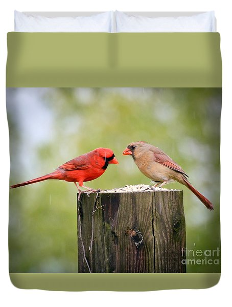 Friends In The Rain  Duvet Cover by Kerri Farley