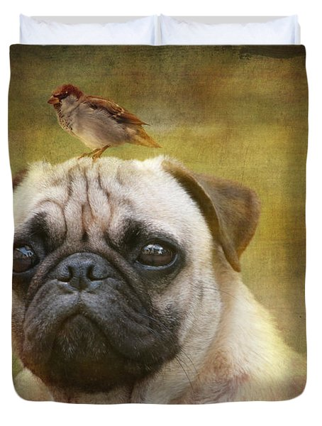 Friends Like Pug And Bird Duvet Cover by Barbara Orenya