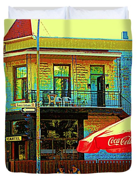 Friends On The Bench At Cartel Street Food Mexican Restaurant Rue Clark Art Of Montreal City Scene Duvet Cover by Carole Spandau