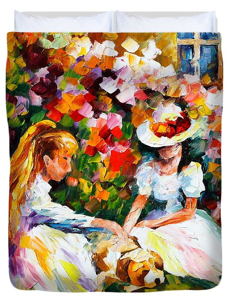Friends With A Dog Duvet Cover by Leonid Afremov