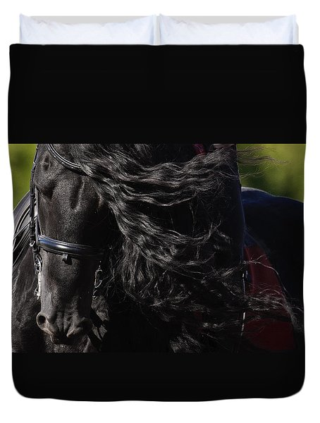 Duvet Cover featuring the photograph Friesian Beauty D8197 by Wes and Dotty Weber