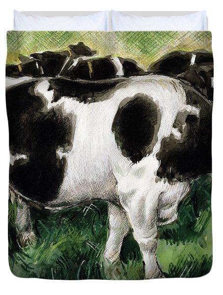 Friesian Cows Duvet Cover by Gareth Lloyd Ball